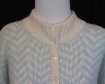 Vintage Nordstroms Chevron Angora Wool Sweater Size Large