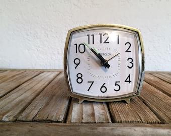Mid Century Westclox Faux Bois Alarm Clock