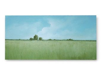 "Original Art, LARGE LANDSCAPE painting 24 X 48 ""Field of Life"""