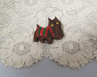 Vintage Brooch Carved Wooden Scottie Dog Glass Eyes Skye Terrier Hand Painted Hand Carved Hand Crafted
