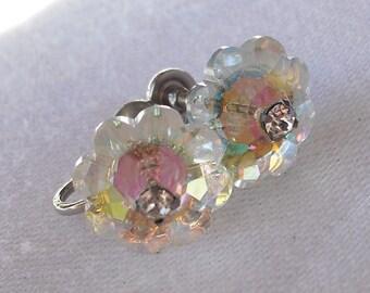 Crystal Margarita Earrings. Vintage Aurora Borealis Screwbacks. Floral Style.