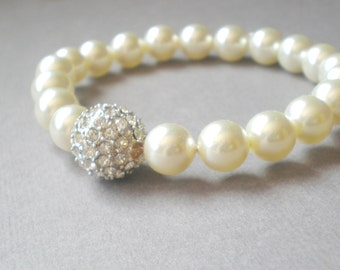 Chic Ivory Pearls.. Pave Rhinstone Bridal Bracelet. Shower GIFT Bride Maid.. Mod Wedding. Chic Prom Jewelry. Mother of the Bride