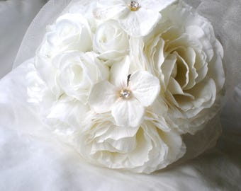 Romantic Tulle Wrapped Bridal Bouquet. Chic Ivory and White Blossom Dream.  Rhinestone Accents. Garden Wedding. Bride Maid Bouquets