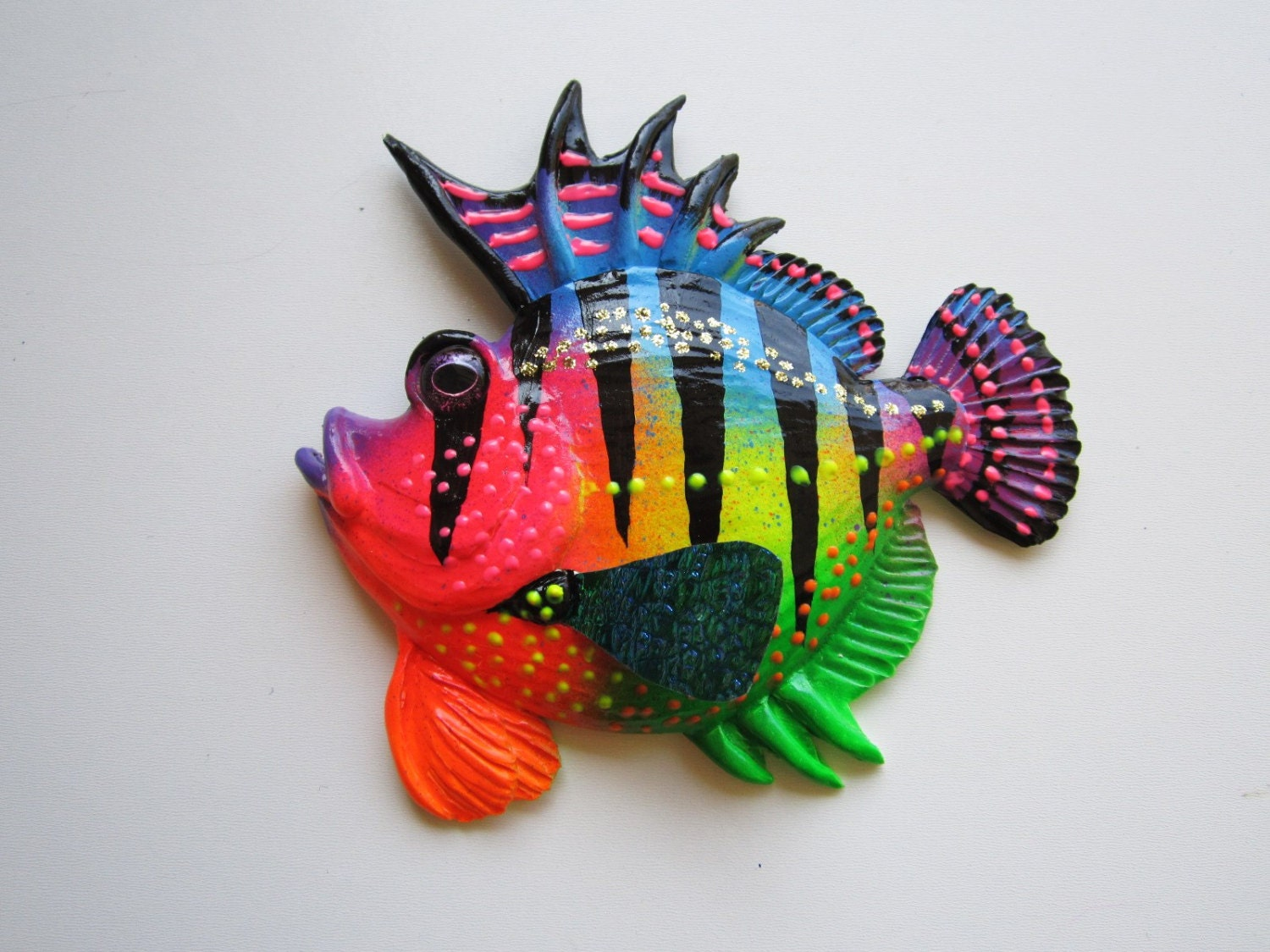 Wall Decor With Fish : Whimsical fish home wall decor art sculpture