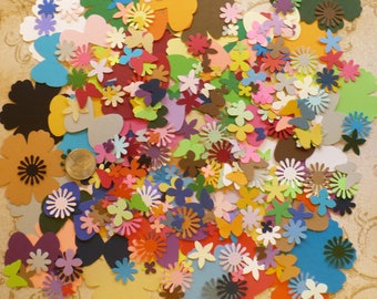 Large LOT PreMade Tiny Flower / Butterfly / Punchies / Shapes made from Rainbow assortment Cardstock for DIY Card making Crafts etc