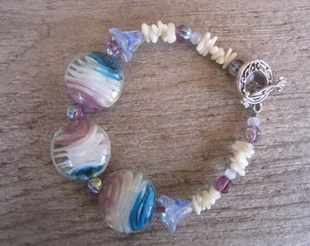 art glass and white coral bracelet, tropical bracelet, resort jewelry, made in Hawaii, beach wedding