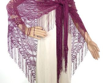 Beautiful Large Genuine 70s Burgundy/Wine Colour Lacey Shawl/Wrap