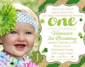 St Patricks Day Birthday Invitation 1st Birthday, St Patricks Day Birthday Party Invitation, Shamrock Printable Invitation
