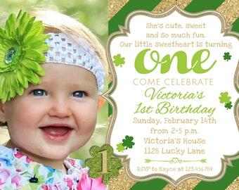 St Patricks Day Birthday Invitation 1st Birthday, St Patricks Day Birthday Party Invitation, Shamrock Printable Invitation