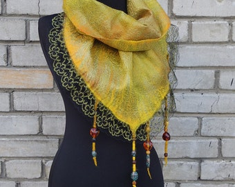 "Baltic treasures"". Soft wet felted triangular scarf with beads and lace, one-of-a-kind unique nunofelted garment"