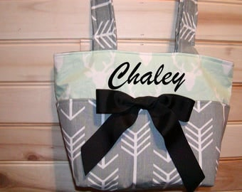 Diaper bag, handbag, purse, book bag..Mint Deer N Gray Arrows..Add a name, choose a font. Customize yours now.