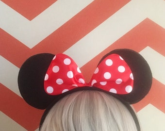 Black Mouse Ears with Red Polka Bow - Mini Mouse - Halloween - Disney