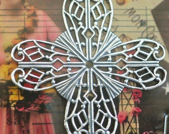 Brass Filigree Cross Stone Wrap, Sterling Silver Finish
