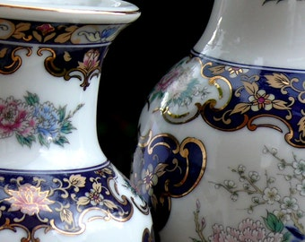 Two Japanese Vases Peacock Floral Vases Excellent Condition Great Gift