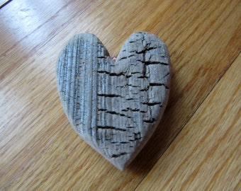 Chunky Rustic Driftwood Heart with Looped Copper Bale One of a Kind Handcrafted Lake Michigan Driftwood