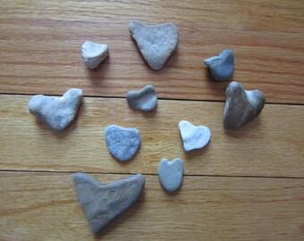 10 Natural Heart Shaped Stones Lake Michigan Jewelry Making Supplies Love Stone Hearts