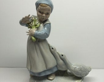 Holland mold large figurine Vintage Girl with Geese 8 3/4 x 5 1/2 x 4 1/4