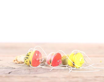 Vintage Fly Fishing Lures /  Red White Yellow Fly Fishing Lures / Fishing Decor / Old Fishing Lure