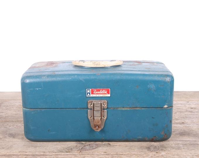 Vintage Revelation Metal Tackle box / Western Auto Industrial Box Metal Storage Box / Antique Metal Tool Box / Rusted Display Unique Storage