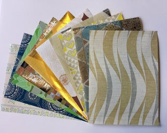 "1960s Vintage wallpaper sample pack-retro geometric, floral, metallic (10 sheets, 8.5x11.5"")"