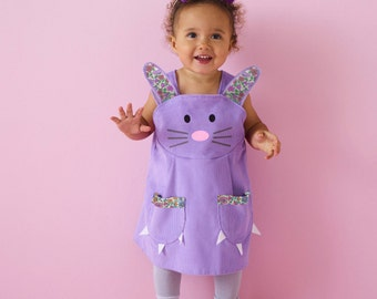 Bunny play dress in soft lavender cord with liberty print ears