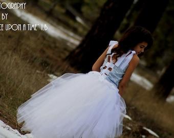Blue and white flower girl dress, weddings,birthdays,photoprop
