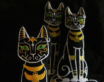 Bastet - egyptian cat cushion - pick your favorite eye color - mystic golden civilisation ethnic by Coffin Rock