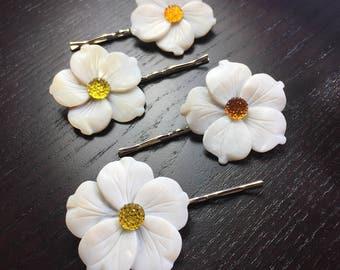 Sunny Citrus Orange and Yellow Mother of Pearl White Flower Bobby Pins -- set of 4 for Bridesmaids