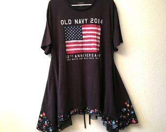 Recycled shirt  summer dress  tunic Cotton dress Patriotic dress