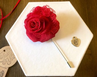 Red Rose Boutonniere ~ Mens Lapel Pin ~ Groomsmen Flower
