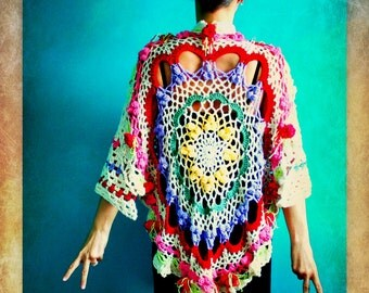 Crochet Doily Shawl,Knit Shawl,Handmade Wrap,Womens Clothing,Gypsy Clothing,Hippie Clothes,One Size,Cream,Red,Green,Purple,Yellow,Pink,Rose