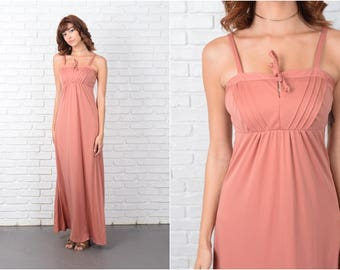 Vintage 70s Dusty Rose Boho Dress Hippie Maxi XS 9471 vintage dress 70s dress boho dress hippie dress maxi dress xs dress