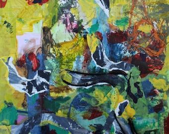 Small expressionist mixed media work on paper 10x10 original art
