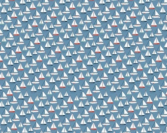 Sailboats on Blue from Riley Blake's By The Sea Collection by My Mind's Eye