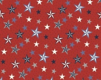 Americana Stars on Red from Riley Blake's Lost & Found Americana Collection