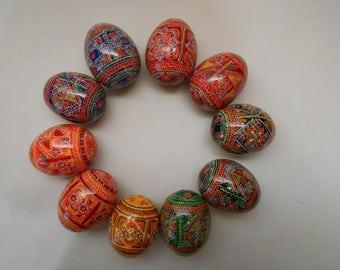 10 Ukrainian Pysanky Pysanka Wooden eggs Hand Painted. #4