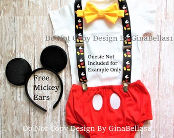 Mickey Mouse Birthday cake smash outfit FREE ears MICKEY SUSPENDERS diaper Cover yellow bowtie boy clubhouse photo prop 9 12 18 24 toddler