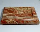 Banded Red Onyx Soap Dish Ash Tray Desk Accessory  4 x 6 inches 2 lb piece (32 grams) DanPickedMinerals