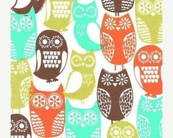 SHOP CLOSING SALE Michael Miller fabric for quilt or craft Swedish Owls in Brown Half Yard
