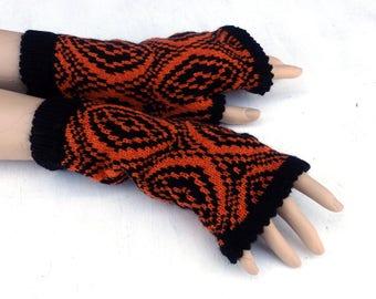 Fingerless gloves, knit colorful gloves, women arm warmers, black orange fingerless mittens, winter gloves, spring wrist warmers,