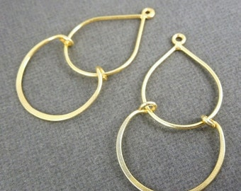 10% off Holiday SALE Gold Ear Wires-- Gold over Sterling Silver Double Chandelier Earwire 35mm x 26mm-- 5 PAIRS  (S35-B3-15)