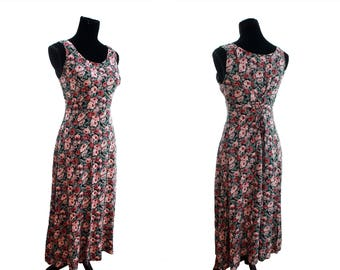 Bohemian Long Floral Rose Lace-Up Dress. 1980's. Vintage. By All That Jazz.
