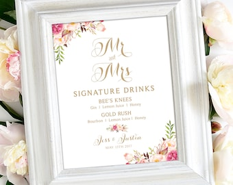 Signature Drink Sign | 8 x 10 | Personalized | Vintage | Antique Gold | Floral Options I Create and You Print