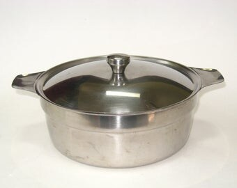 Hackman Finland 18/8 Stainless Steel Covered Casserole Sorsakoski - Taller MCM Handled Lidded Bowl Pot