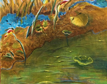 Down by the Water original acrylic painting