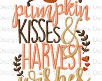 Pumpkin kisses and harvest wishes - Holiday applique Shirt - Girl's Thanksgiving shirt  - Fall shirt - Monogram