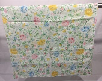 Vintage, pillowcase, floral, yellow, blue, pink flowers, bedding, floral pillowcase, roses, colorful,