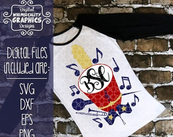 Marching Band Hat For Monogram with SVG, DXF, EPS, Png Commercial & Personal Use
