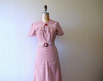 1930s day dress . vintage 30s striped dress