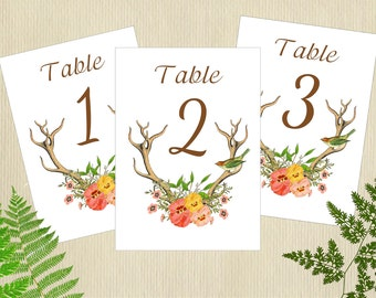 Antler Table Cards, Whimsical Table Cards, Table Numbers, 5x7 Table Cards, Flat Table Numbers, Antler Wedding, DeerTable Cards,